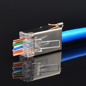 EZ Pass Through CAT5e/Cat6 RJ45 Shielded 8P8C With Ground Wire Connector